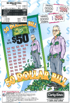 50 Dollar Bill - Bingo Jar Tickets